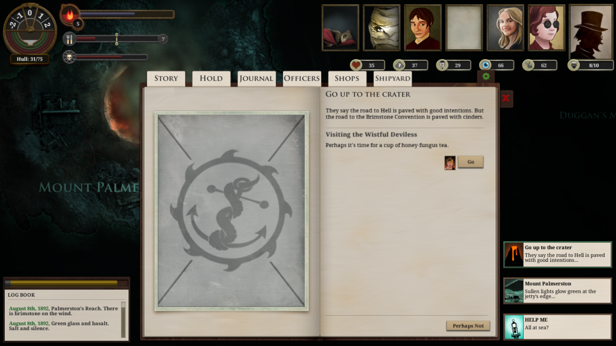 The player explores Mount Palmerston in Sunless Sea - and comes across a Deviless with a few proposals.