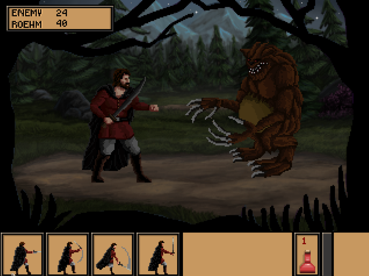 Roehm encounters a creature in the northern woods of Quest for Infamy, his first battle in the game.
