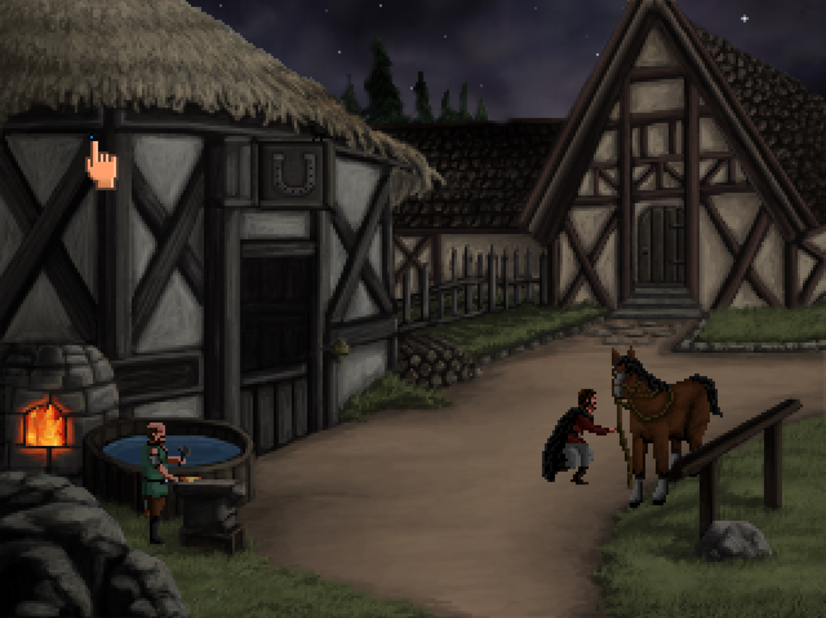 Roehm is up to no good in Quest for Infamy, preparing to release the blacksmith's horse as a diversion.