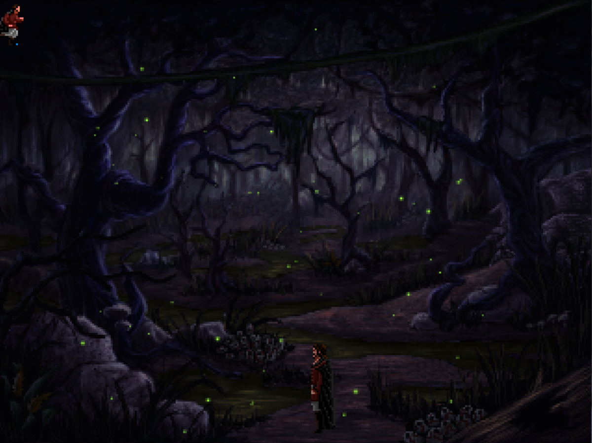 The darkened swamp of Quest for Infamy, lit by fireflies.