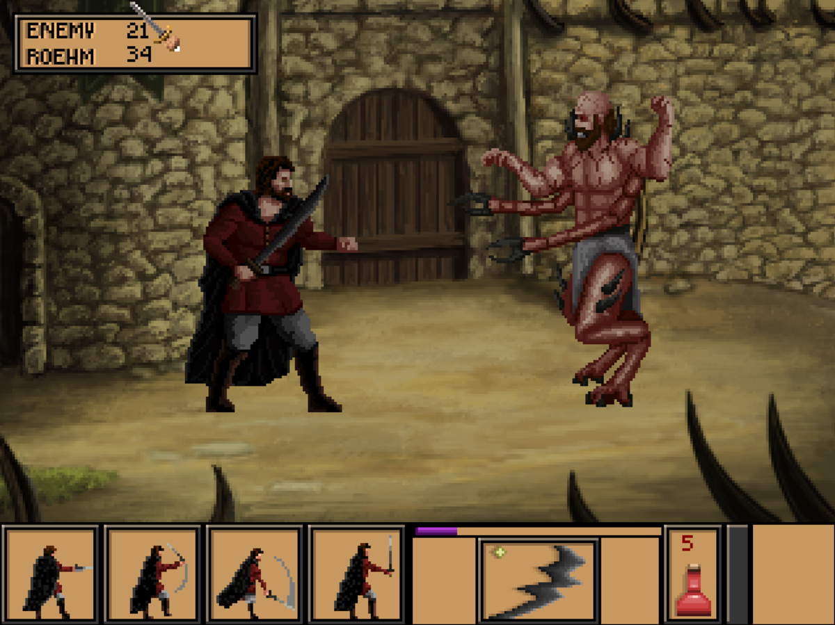 A gruesome boss battle in Quest for Infamy.