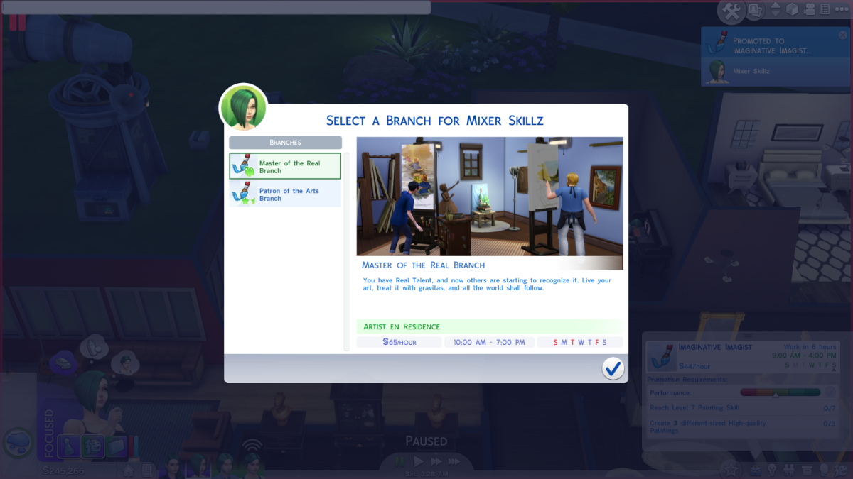 """The Master of the Real career path in """"The Sims 4."""""""