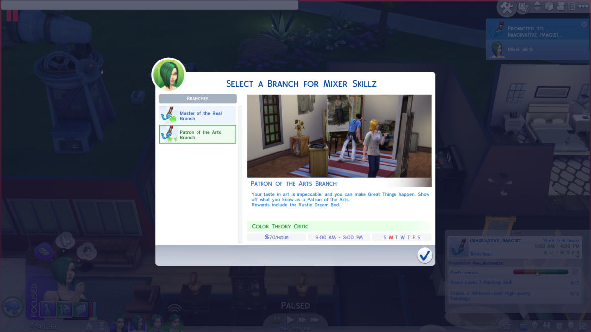 """The Patrons of the Arts career path in """"The Sims 4."""""""