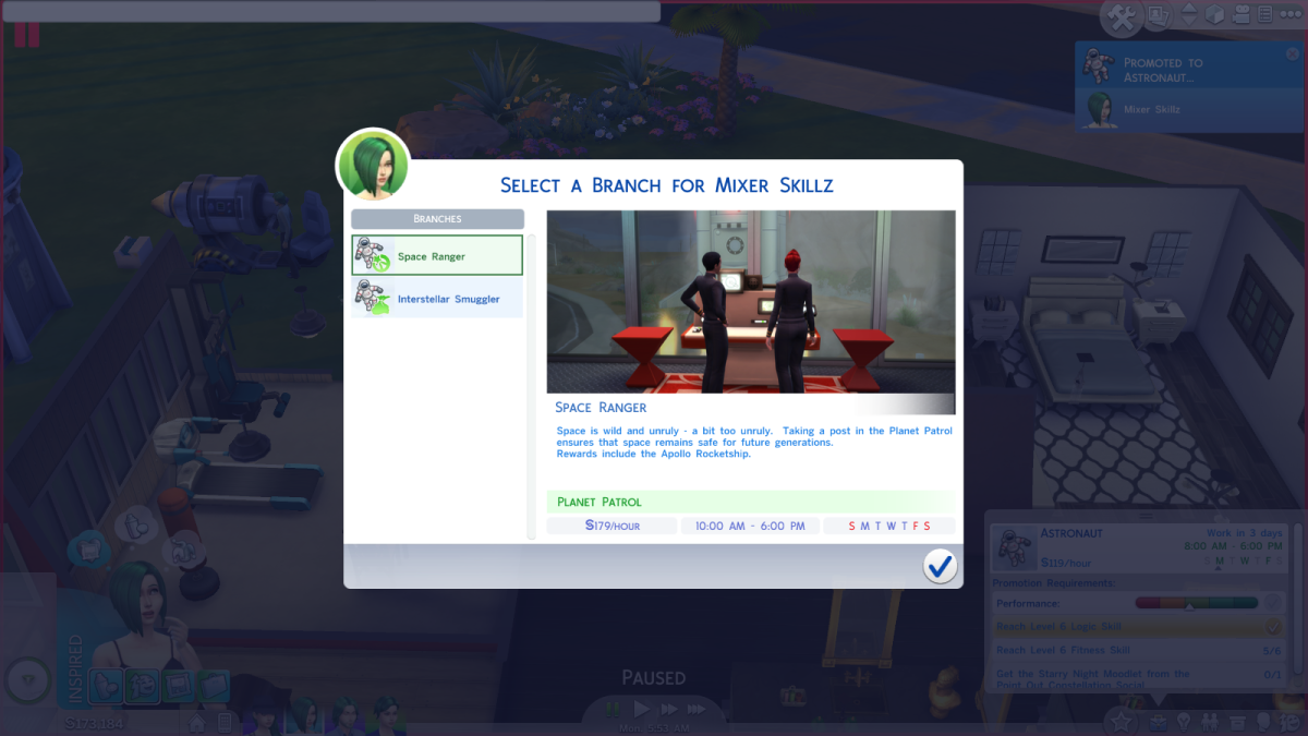 "The Space Ranger job route in ""The Sims 4,"" part of the Astronaut career."