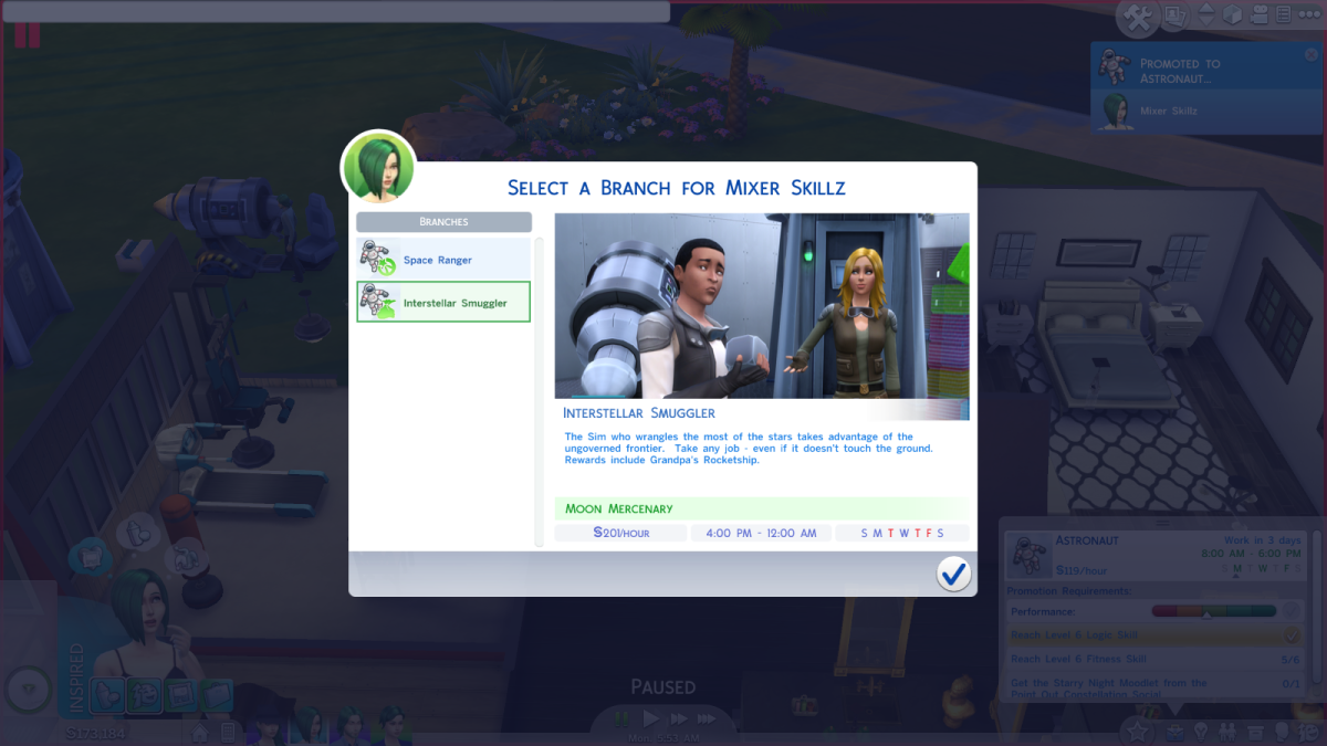 "The Interstellar Smuggler job route in ""The Sims 4,"" another branch along the Astronaut career path."