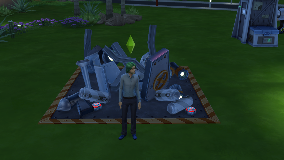 A ruined rocket in The Sims 4. Mess up during space missions and this can happen. Ow.