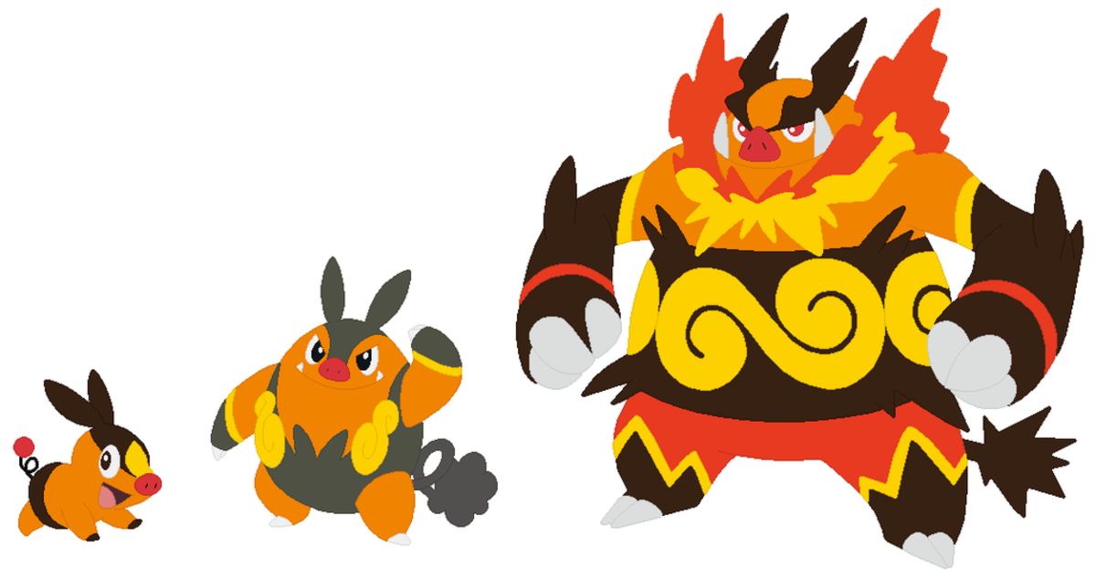 Tepig, Pignite, and Emboar