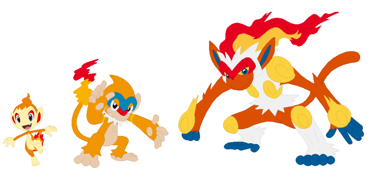 Chimchar, Monferno, and Infernape