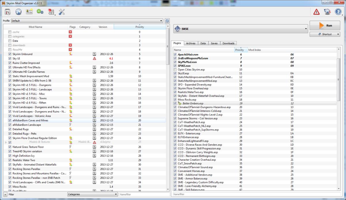 The Mod Organiser interface.
