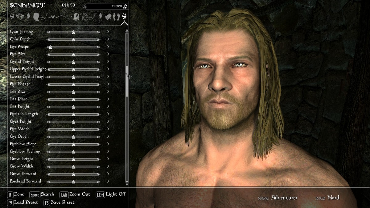 "An example of the sliders added to the Player Character creation screen by the excellent ""Skyrim"" mod, ""Race Menu""."
