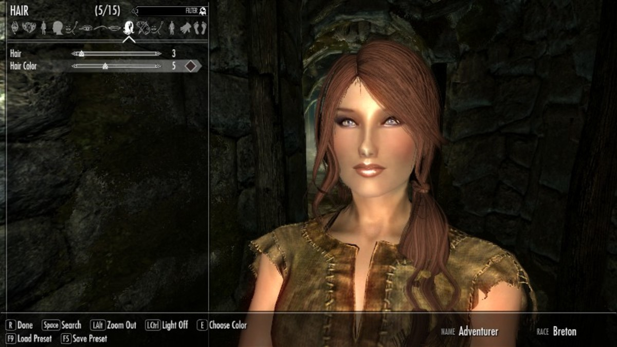 Vanilla Skyrim Player character after body model mods have been installed.