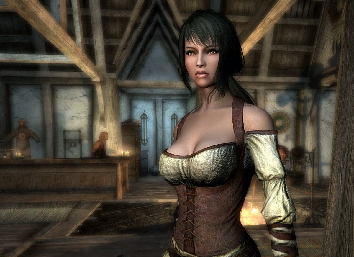 An example of the Skyrim CBBE (Caliente's Body Mod) in game.