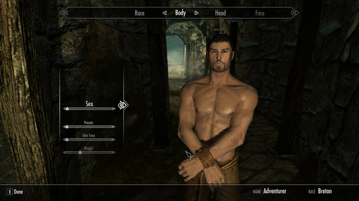 Skyrim Player Character after body model mods have been installed.