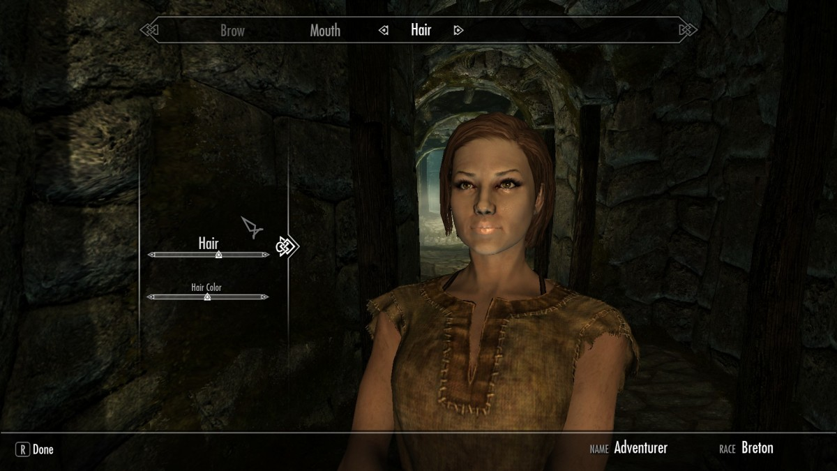 Vanilla Skyrim Player character before body model mods have been installed.