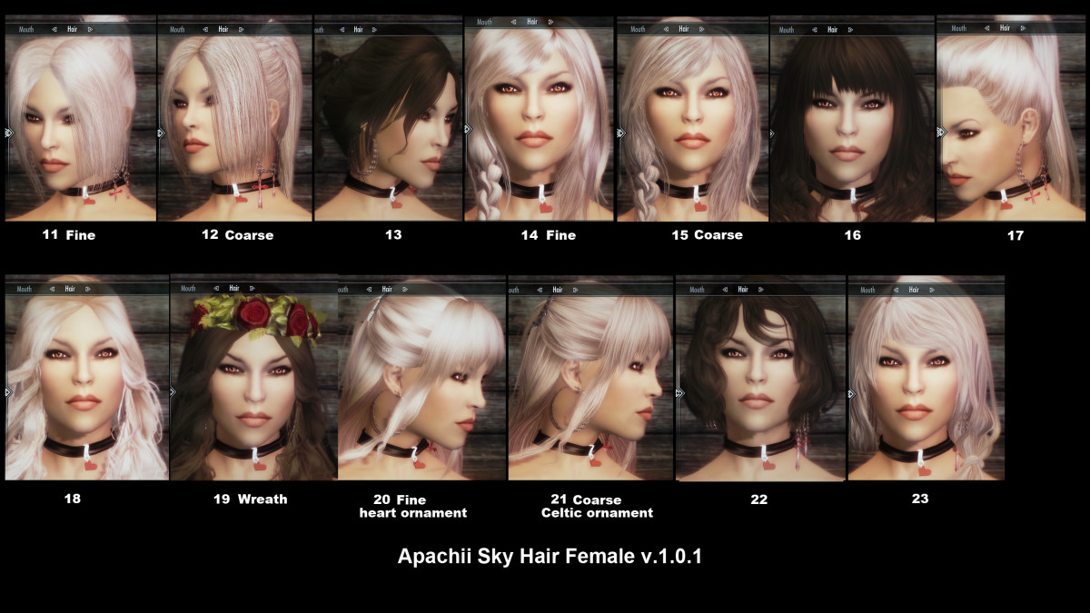 "Examples of the hairstyles available from the ""ApachiiSkyHair"" ""Skyrim"" mod."