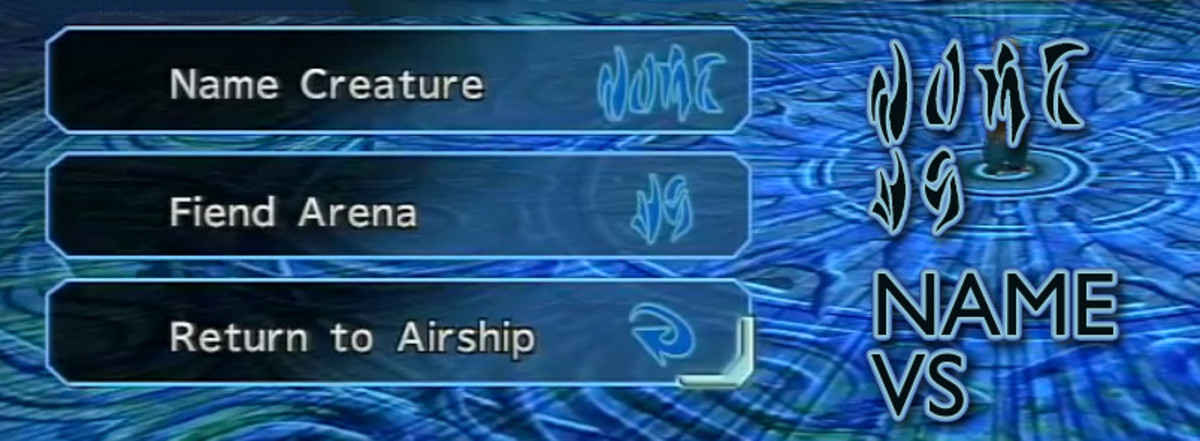 """Shinra's computer has """"NAME"""" and """"VS"""" (that is, """"versus"""") in Al Bhed."""