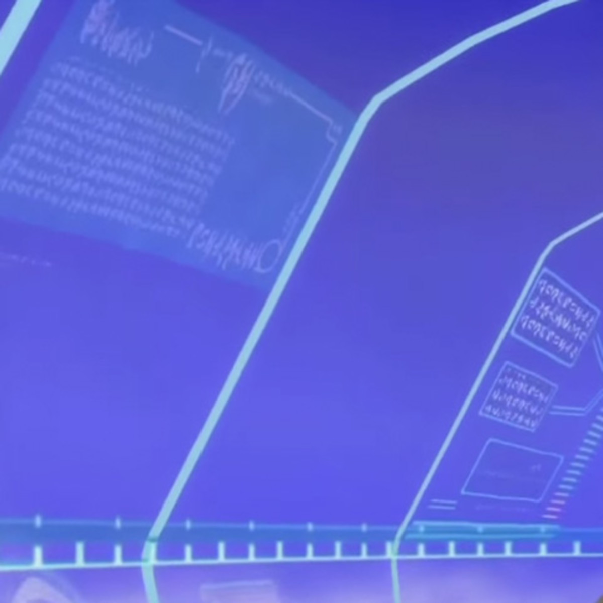Left side of airship's glass canopy. The left-hand display is a ghostly background layer on the upper screen of Cid's computer; the right-hand middle panel forms the green-on-black display in the middle of Cid's over-complicated keyboard.