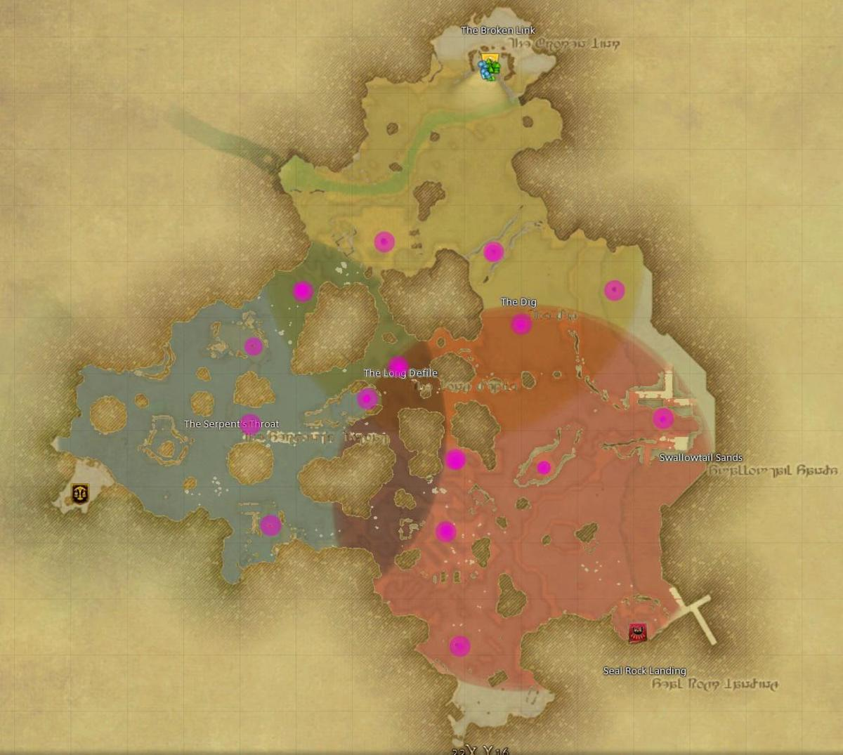 Map showing starting areas for a match. This also illustrates that north starting zone is disadvantageous as it only has 4 nodes it can comfortably control.