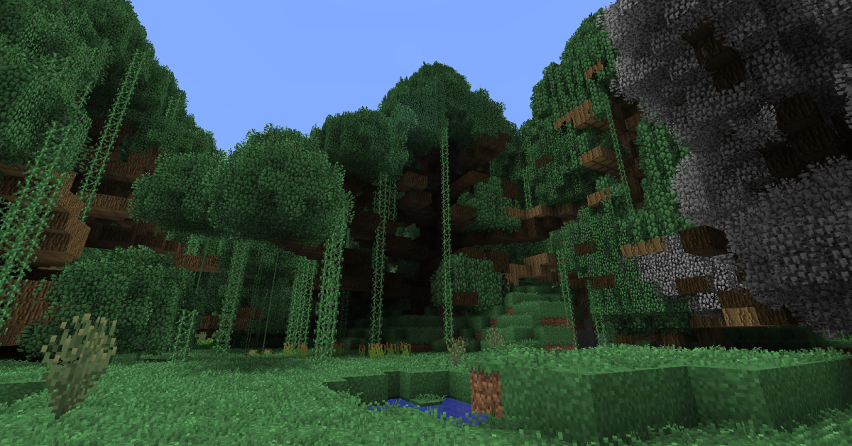 For the most part, the Biomes O' Plenty compatibility is wonderful, but in some cases the new trees can take over a zone that should be mostly clear, such as this grasslands biome.