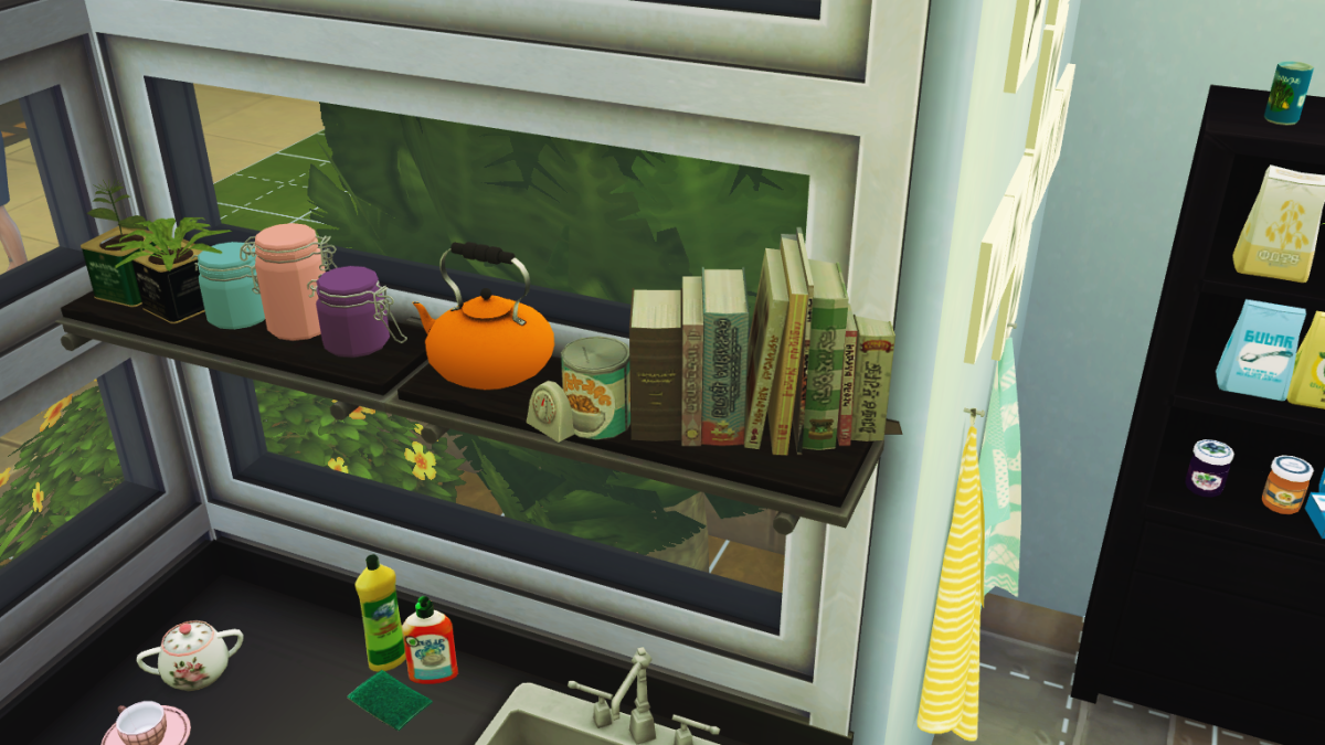 My Sim's clutter-filled kitchen.