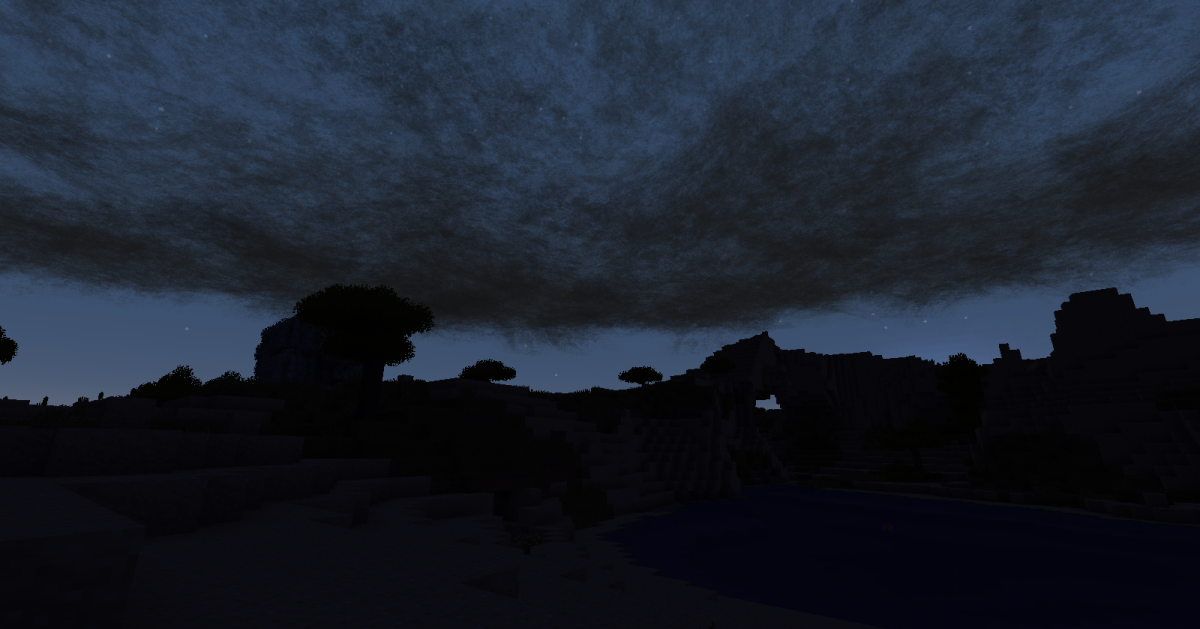 Most of the mod's effects work even better at night, such as when dark clouds completely hide the moon and stars.
