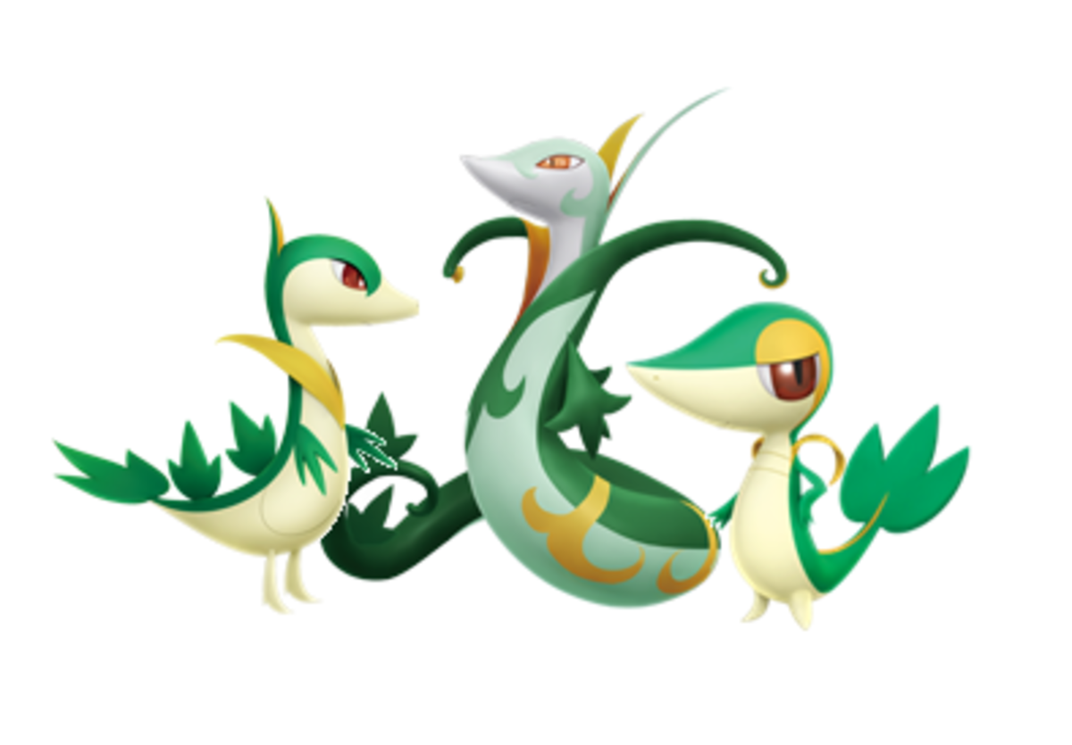 Snivy, Servine, and Serperior