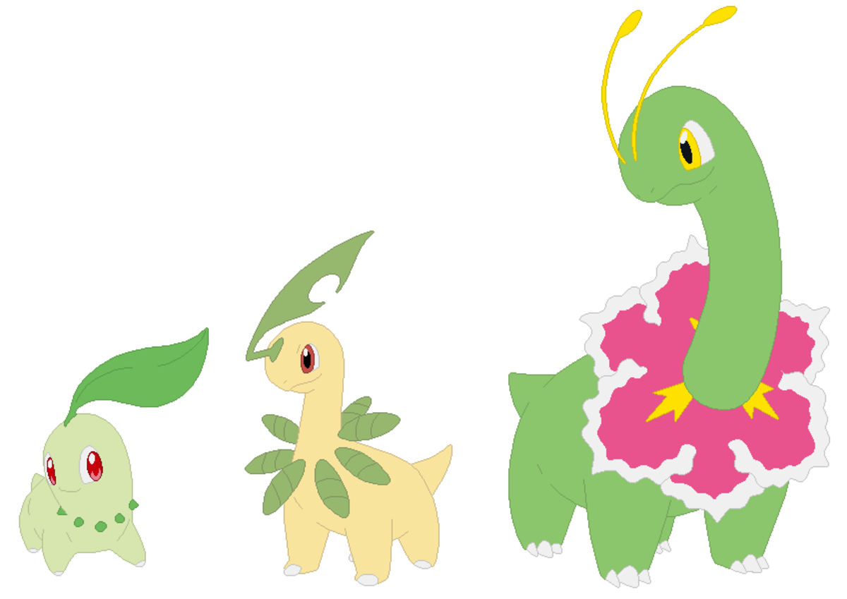 Chikorita, Bayleef, and Meganium