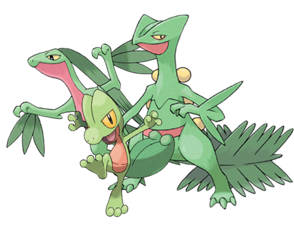 Treecko, Grovyle, and Sceptile