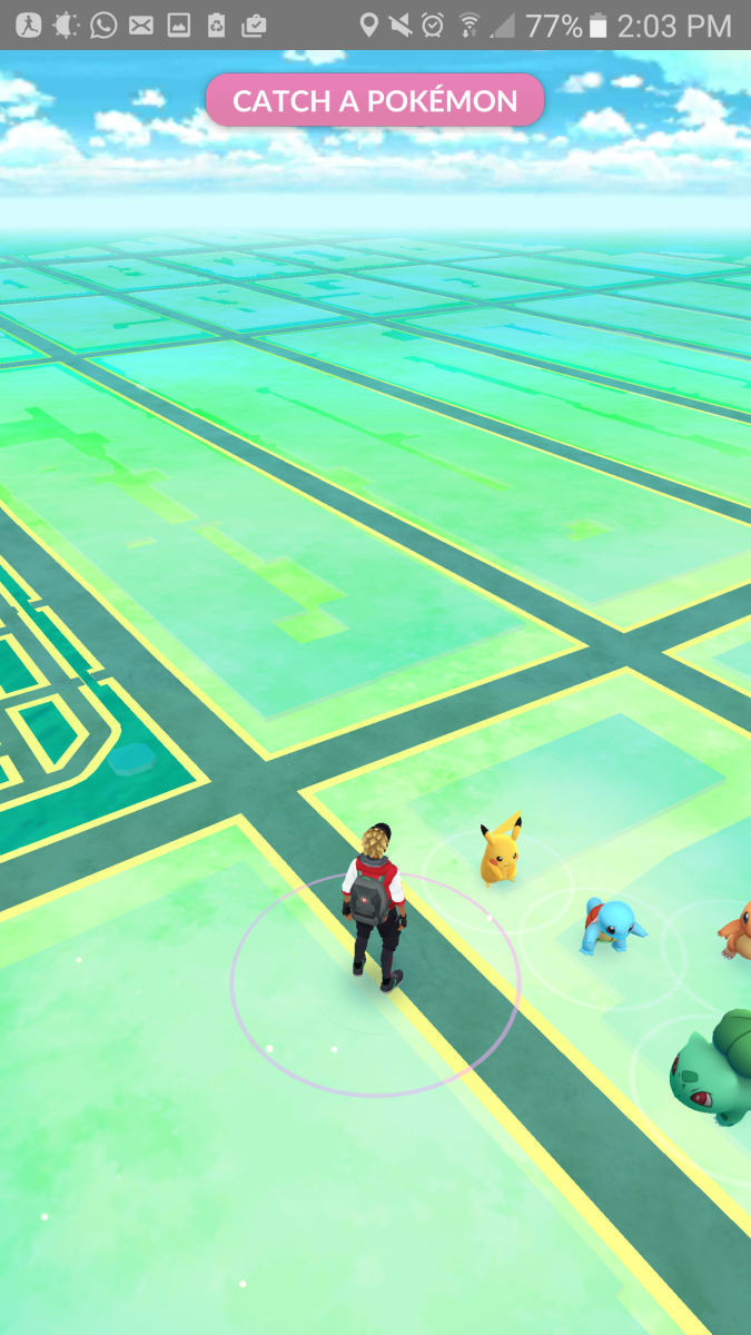"""The ultimate """"Pokémon GO"""" Easter Egg: A tribute to Ash Ketchum and """"Pokémon Yellow"""" Version. Pikachu, Charmander, Squirtle and Bulbasaur all available at the start of the game."""