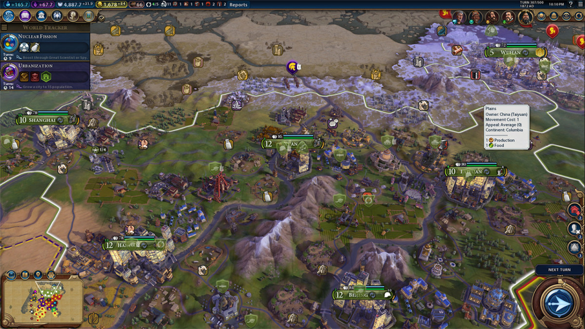 Screenshot of gameplay, from Sid Meier's Civilization VI.