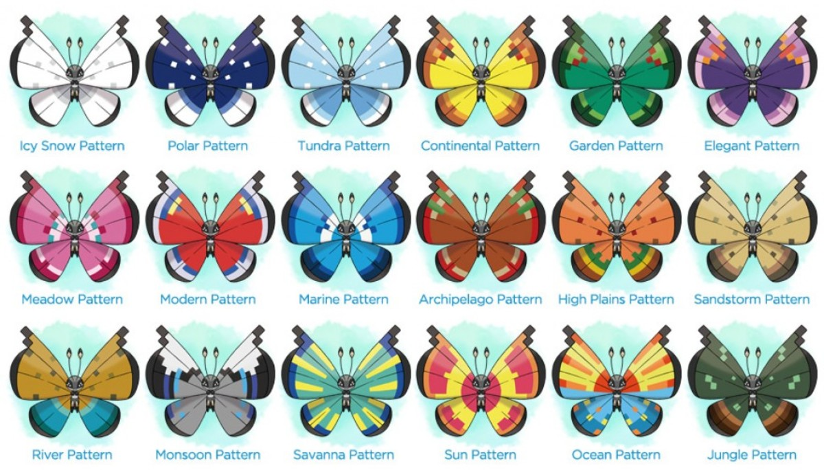 The various different patterns of Vivillon