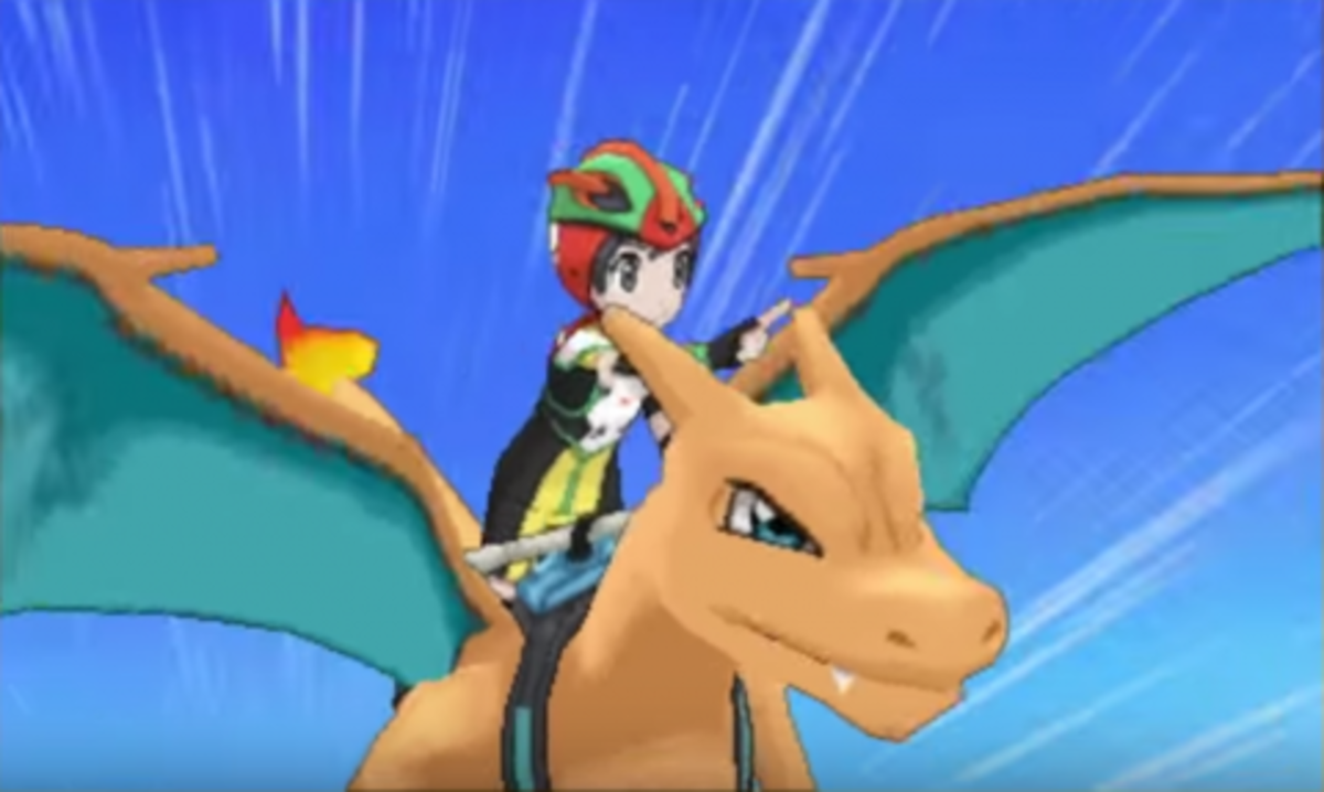"Riding a Charizard acts as a substitute for the move ""Fly."""