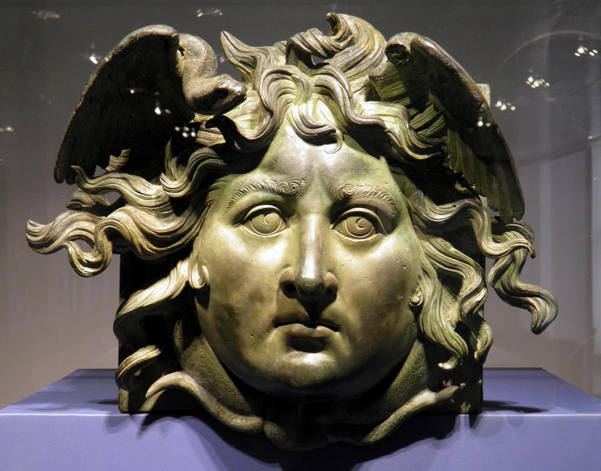 A bronze head of Medusa from an ancient ship.