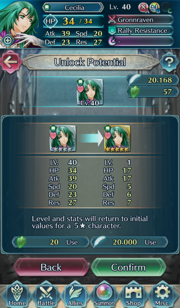 Screenshot of the Unlock Potential menu for Cecilia.