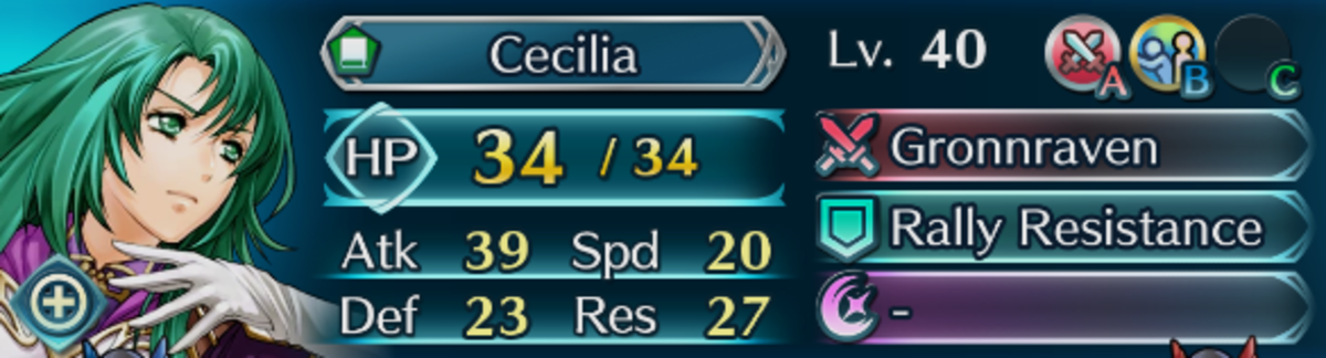 Cecilia's stats at four stars and Level 40.