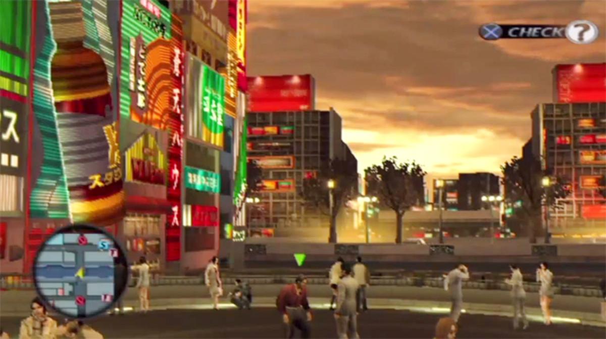 Golden Osaka evening in Yakuza 2.