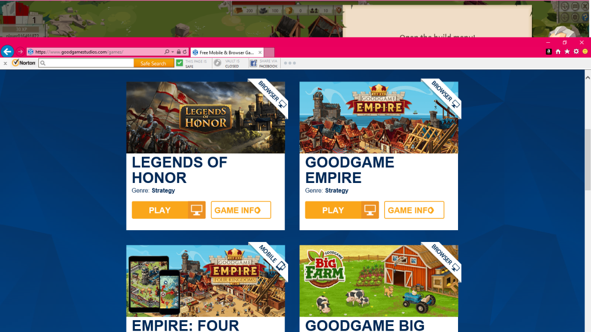 Legends of honor, Goodgame empire, Empire:  Four Kingdoms, Goodgame Big Farm.  hubpages.com/@simplehappylife
