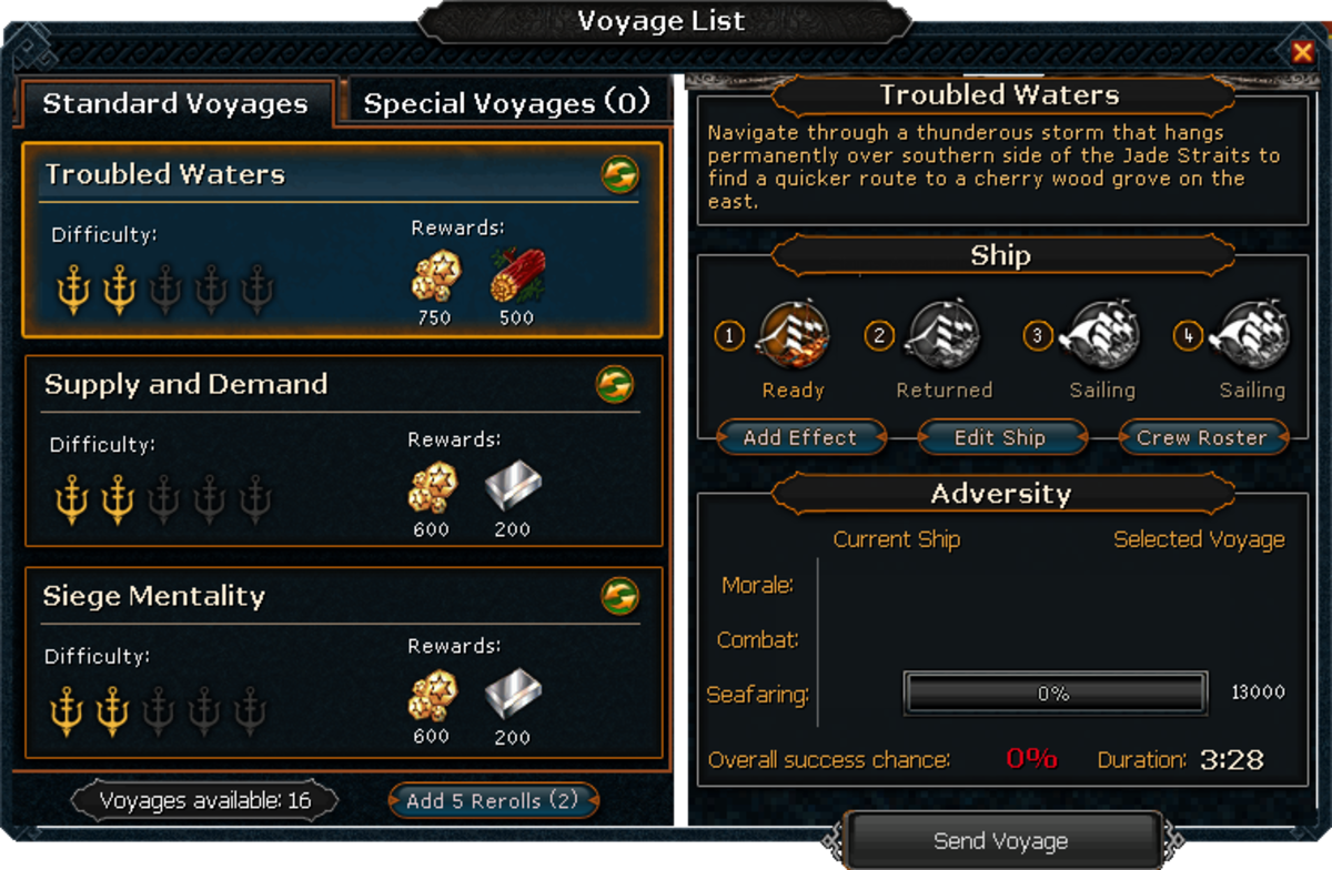 Some standard missions available