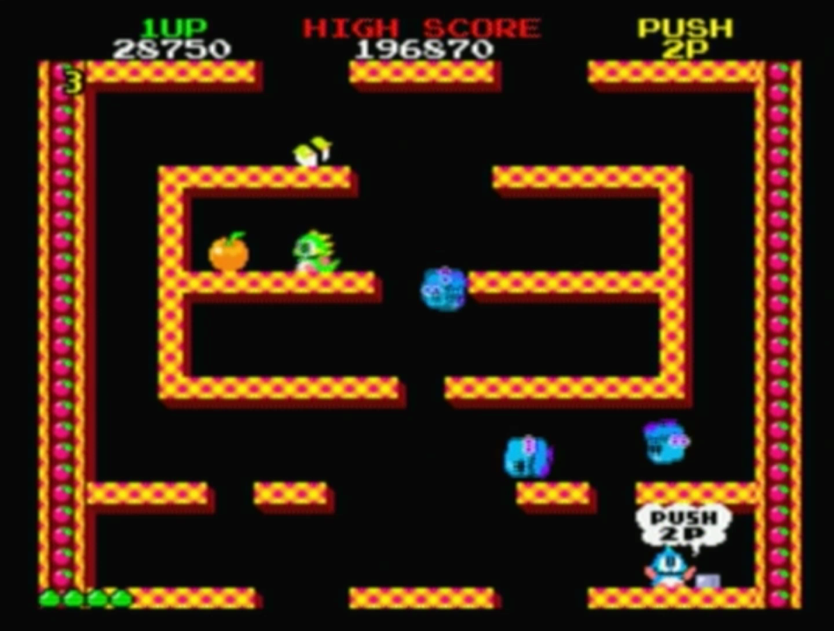 Bubble Bobble, the adventures of two dinosaurs.