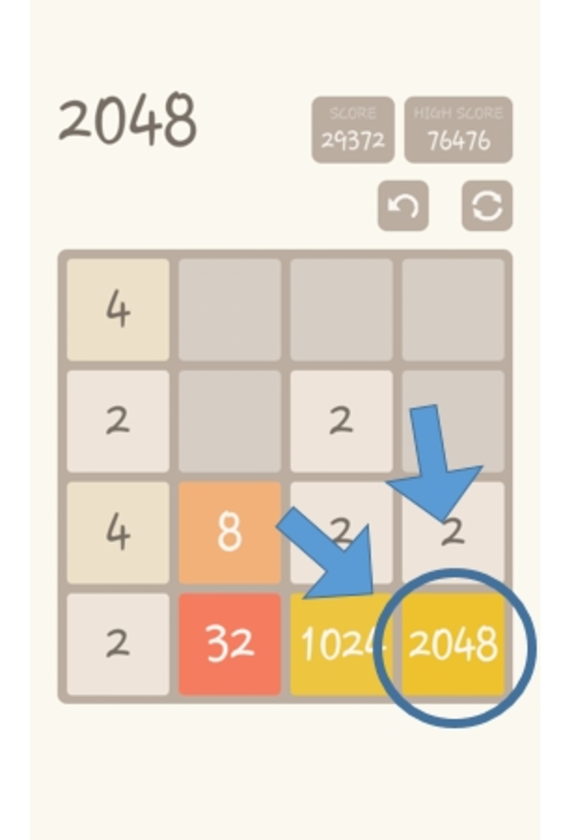 The tile with the highest number is placed at the corner while other tiles are being combined.