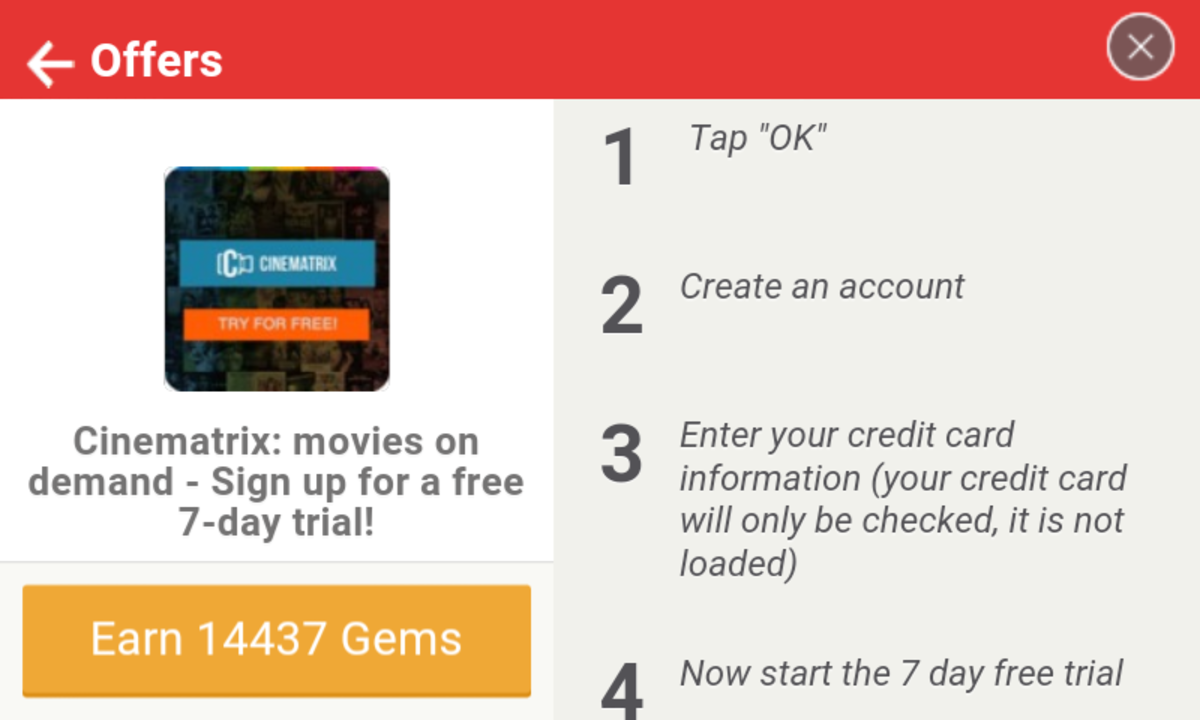 Complete a trial offer to earn premium currency on Tapjoy Rewards.