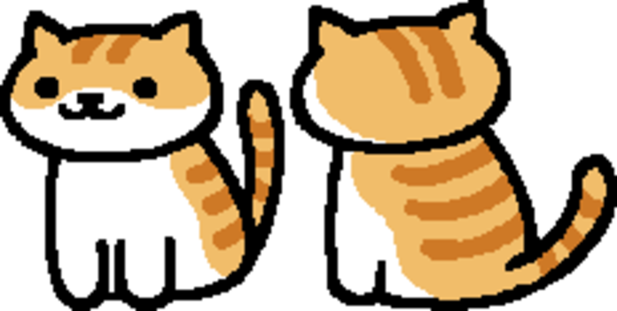 "The in-game sprite for Pumkin in ""Neko Atsume."""