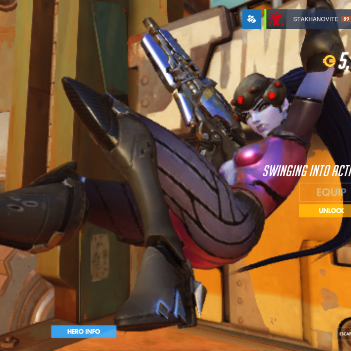 """Widowmaker, Widowmaker, making widows by killing their man."" That's dark, I'm sorry."