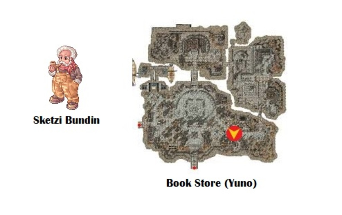 Next, Minty will send you to the Bookstore in Yuno, where you'll find Sketzi Bundin.