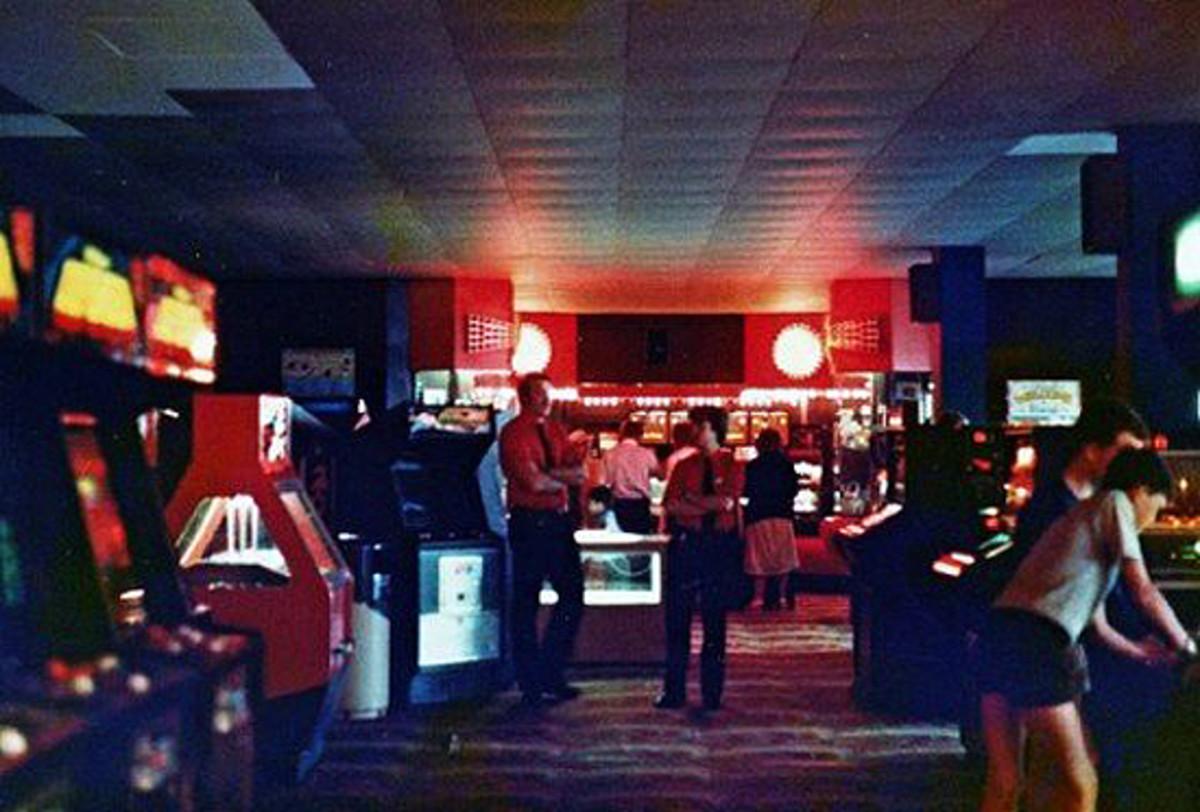 1980s photograph of an arcade.