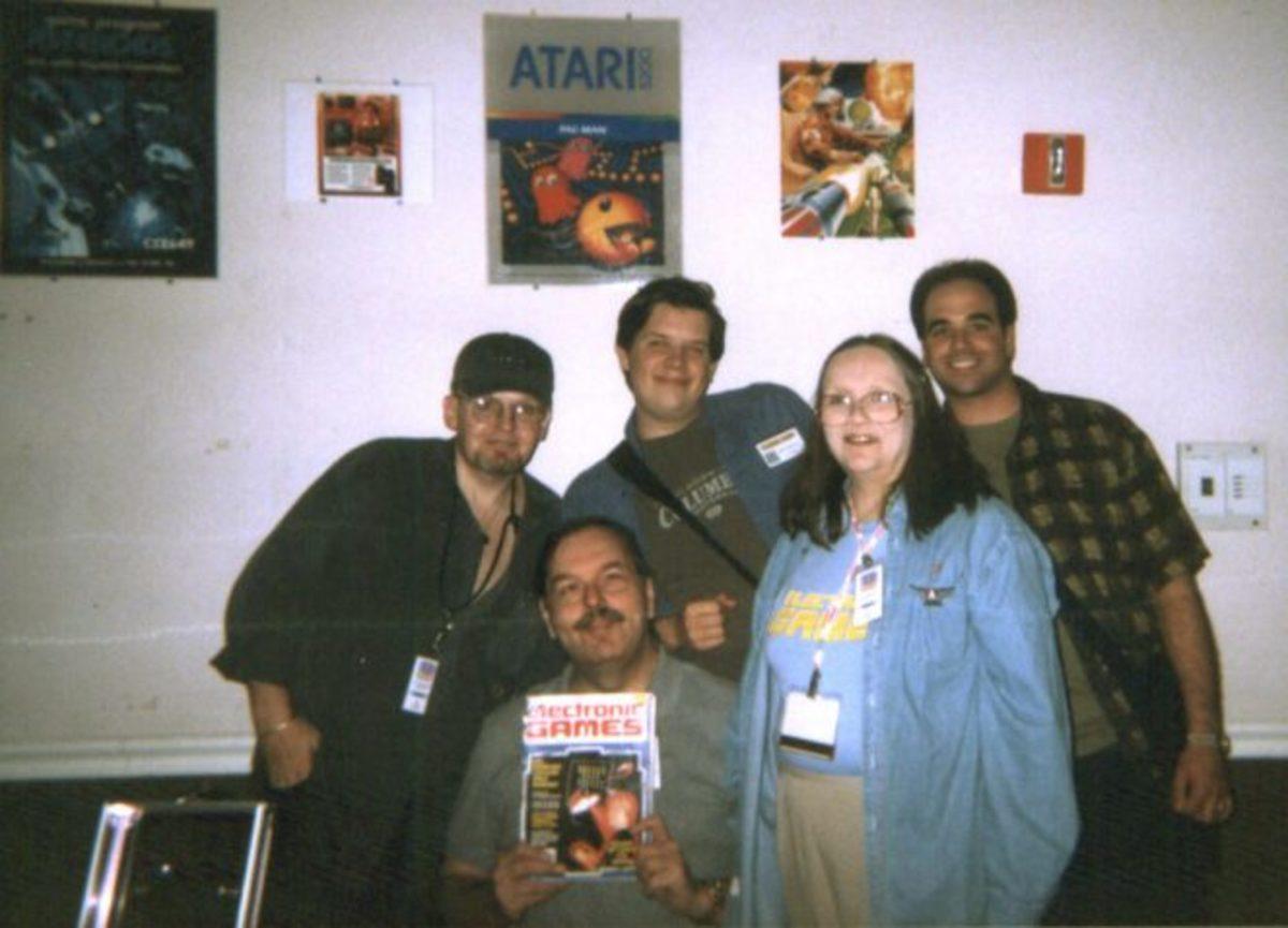 (L-R) Bill Kunkel, Arnie Katz, Chris Kohler, Joyce Worley Katz, and Al Riccitelli at the Classic Gaming Expo 2002 in Las Vegas. Photo by Chris Kohler.