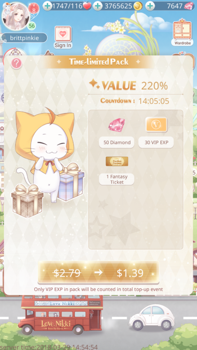 What else are you gonna do with a dollar?  Might as well buy some diamonds and a fantasy ticket in Love Nikki!