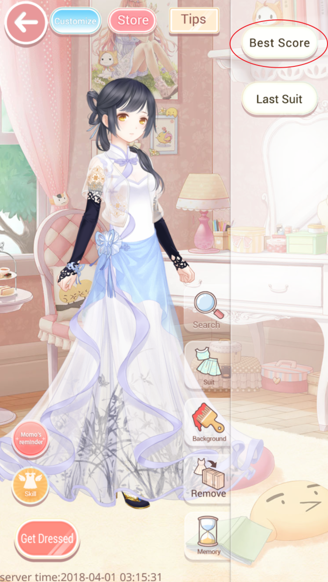 Use your highest scoring outfit from Maiden to beat your Princess level!