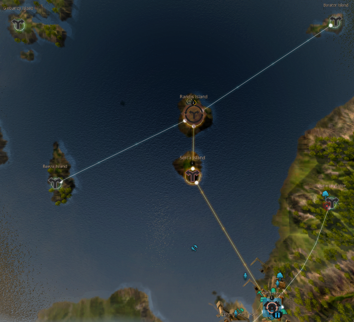 The islands that are connected with a line all have fishing nodes where your workers can collect dried fish.