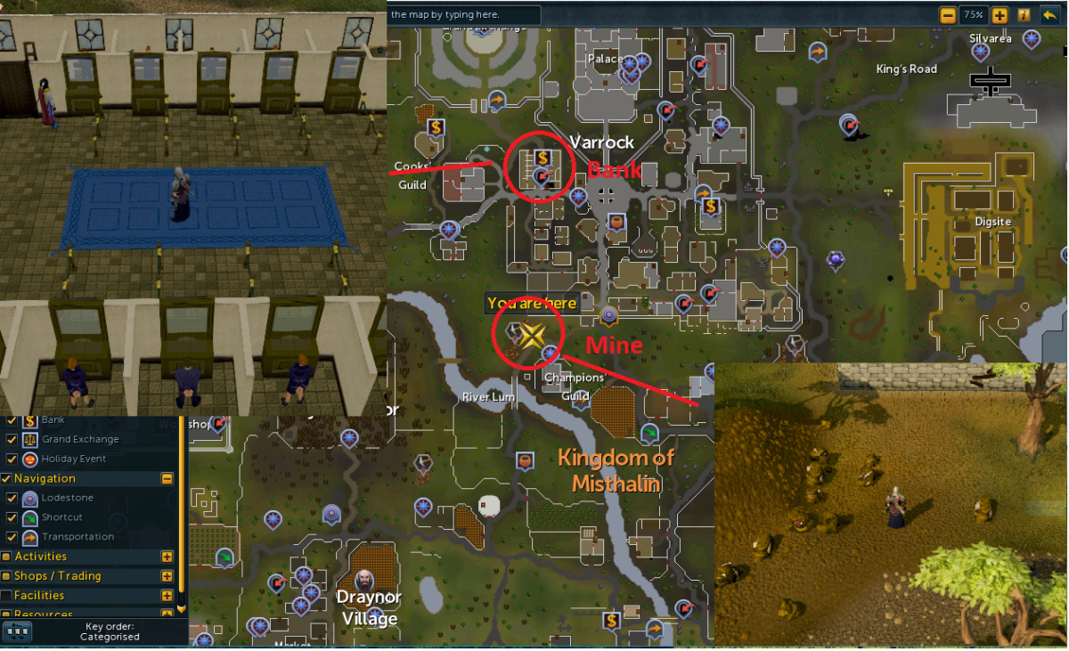 Location of the mine and bank in Varrock. You can also use the mine located in the bottom right corner of Varrock.